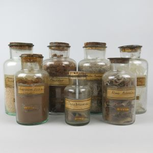 Vintage apothecary jars x 7