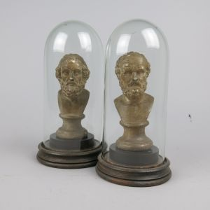 Pair miniature busts under glass domes