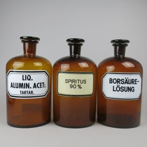 Large brown apothecary / chemist jars x 3