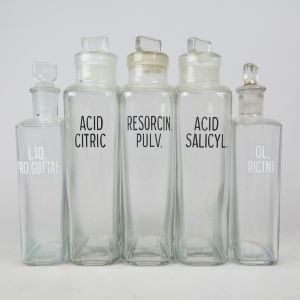Clear chemist bottles