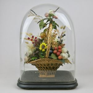 Glass dome with basket of flowers/fruit